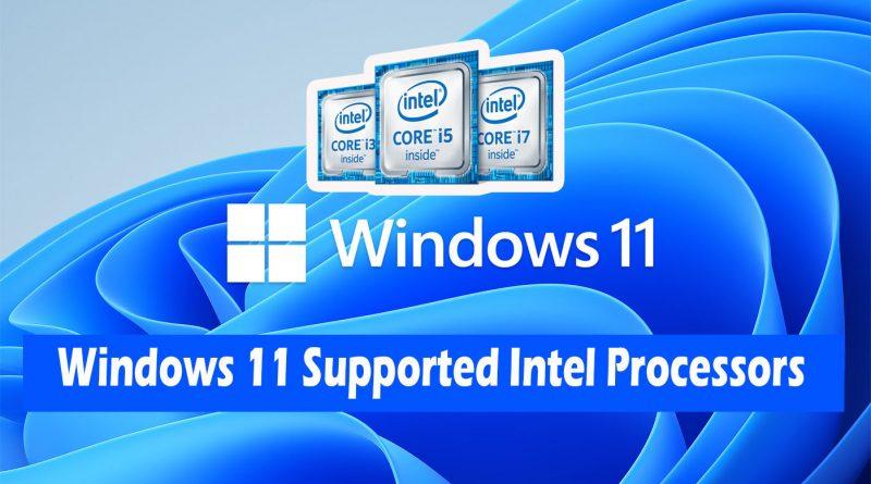 Windows 11 supported intel processor